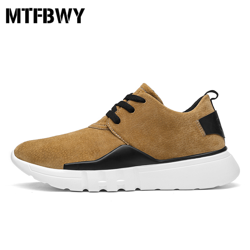 Mens running shoes new autumn Pig leather sport shoes breathable lace-up men sneakers size 39-44 2053s