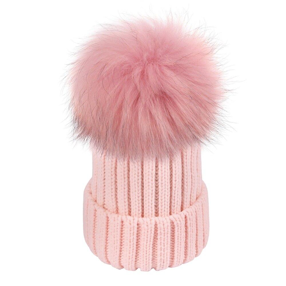 Women Winter Hats Fashion Warm Crochet Knit Thick Beanie Caps Autumn Fox Fur Pompons Bonnet Mink Pom Poms for Female Ladies Girl cx c 12a genunie mink fur ladies fashion hats drop shipping