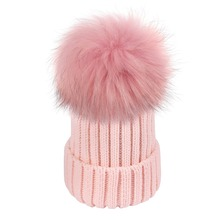 Women Winter Hats Fashion Warm Crochet Knit Thick Beanie Caps Autumn Fox Fur Pompons Bonnet Mink Pom Poms for Female Ladies Girl