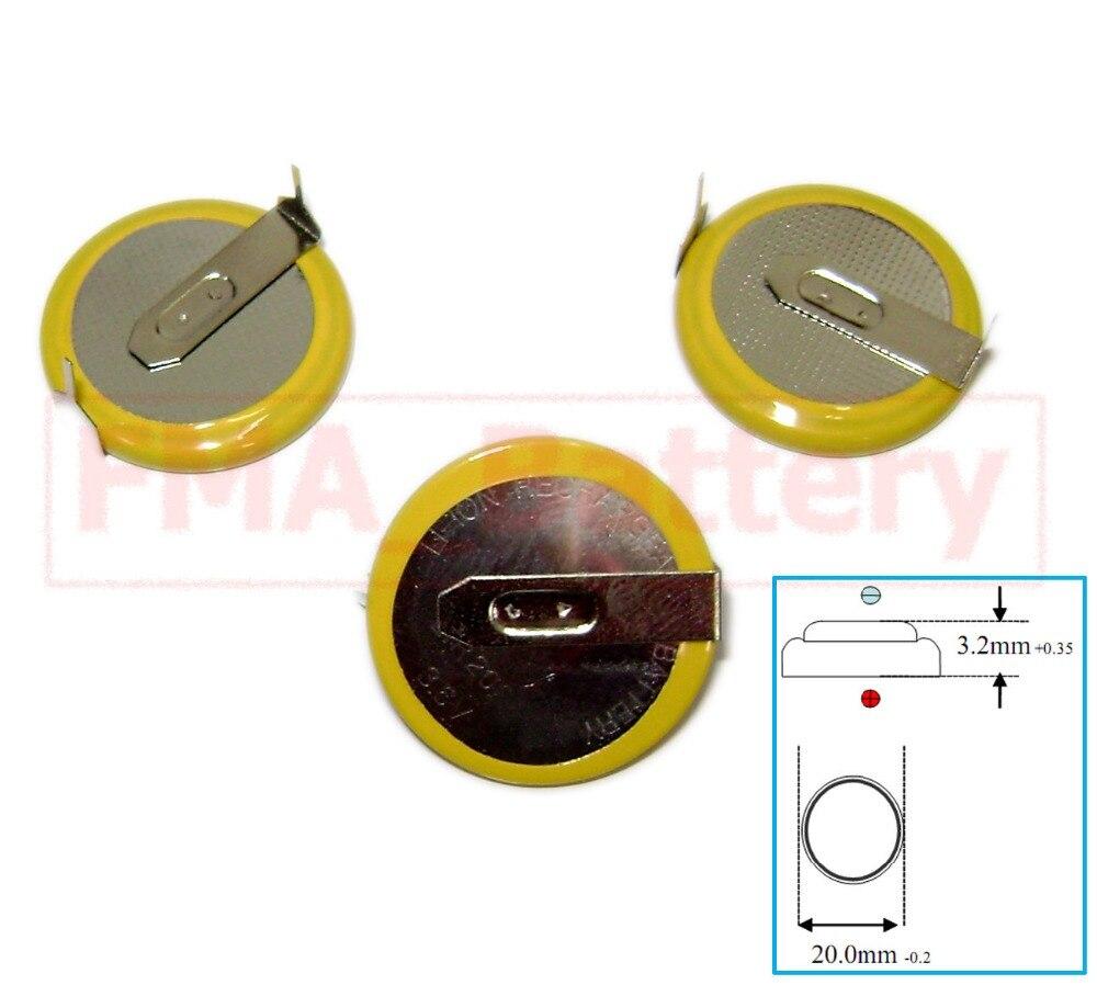 New 2 pcs Genuine LIR2450 LIR 2450 Li-Ion 3.6V Coin Cell BACKUP BATTERY w// TABS