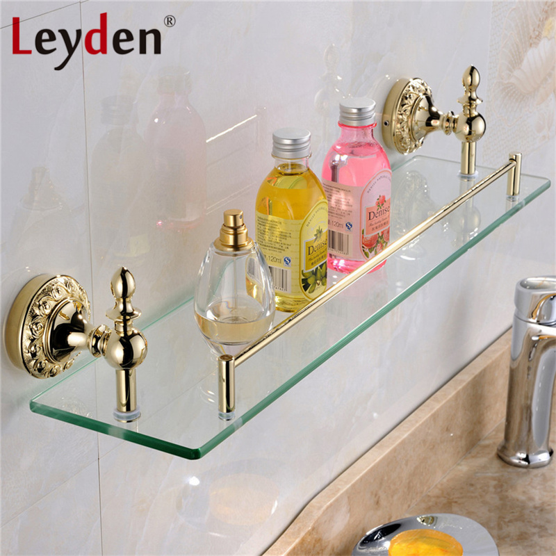 Leyden High Quality Luxury Solid Brass Gold Single Tier Toilet Glass Bathroom Shelf Flower Carving Gold