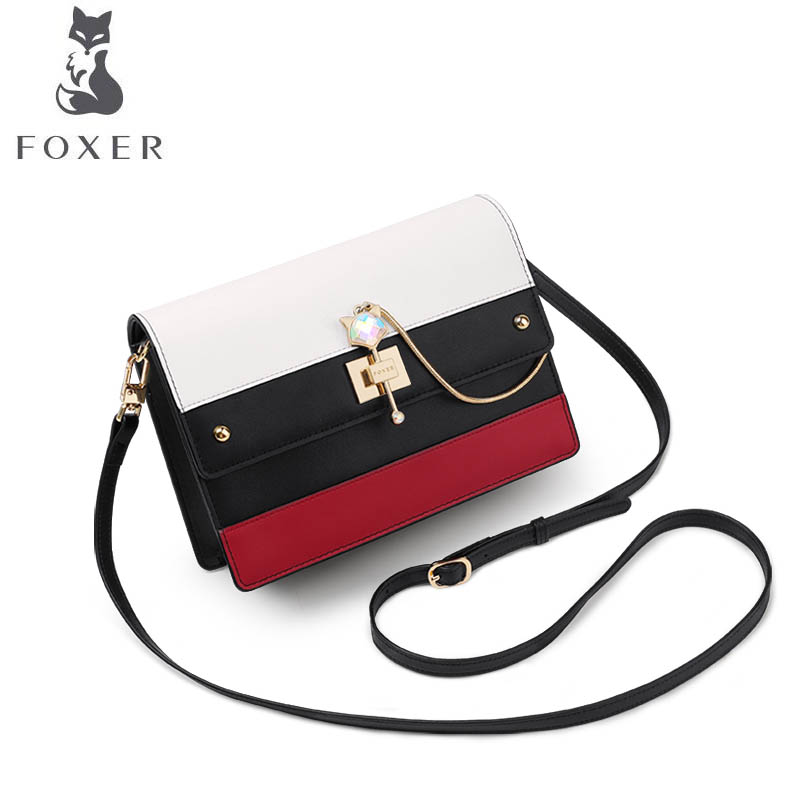FOXER brand bag Teenage small bag leather 2018 new fashion shoulder bag tide simple Messenger bag 2018 new foxer brand women leather bag high quality fashion chains women shoulder messenger bag cowhide black simple small bag