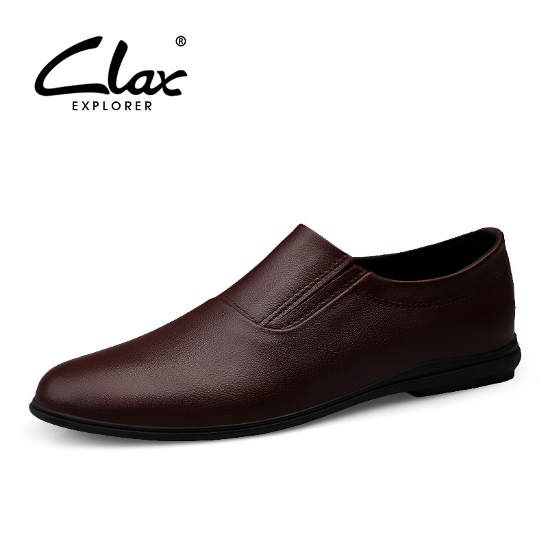 CLAX Mens Shoe Genuine Leather 2019 Spring Summer Male Boat Shoes Pointed Toe Leather Loafers Man Flat Moccasins Soft Breathable