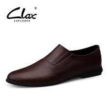 CLAX Mens Shoe Genuine Leather 2019 Spring Summer Male Boat Shoes Pointed Toe Leather Loafers Man Flat Moccasins Soft Breathable clax mens moccasins genuine leather 2019 spring summer casual shoe male fashion boat shoes loafers breathable walking footwear