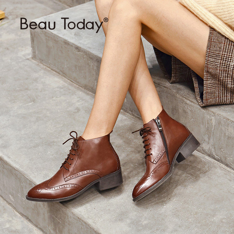 BeauToday Ankle Boots Women Brand Brogue Style Wingtip Lace Up Genuine Calf Leather Ladies Shoes Handmade