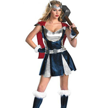 Deluxe Hollywood Famous Movies Blue And Silver Foil Dress Adult Sassy Thor Costume Disguise Costumes Thor