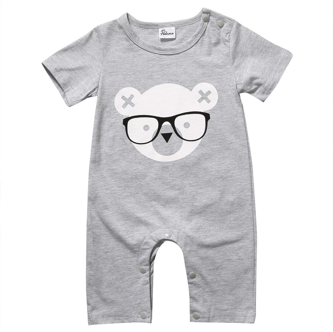 Baby Boy Kids Short Sleeve Bear Print Romper Cute Cotton Rompers Summer