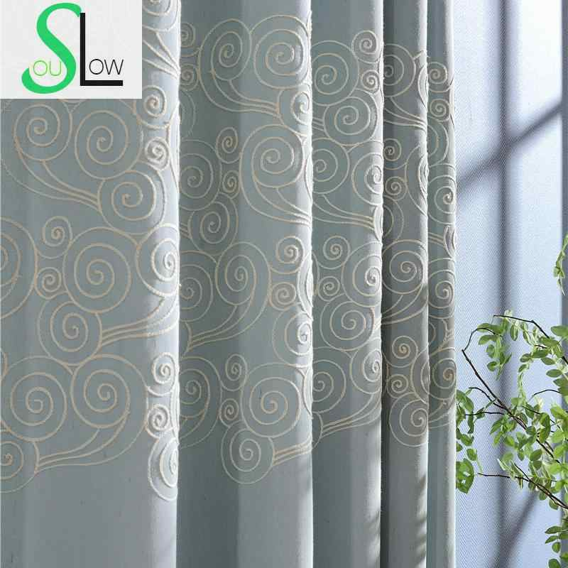 Slow Soul Blue Champagne Shuiyunjian Embroidered Curtains For Living Room Tulle Curtain Kitchen Bedroom And Chinese Baby Window