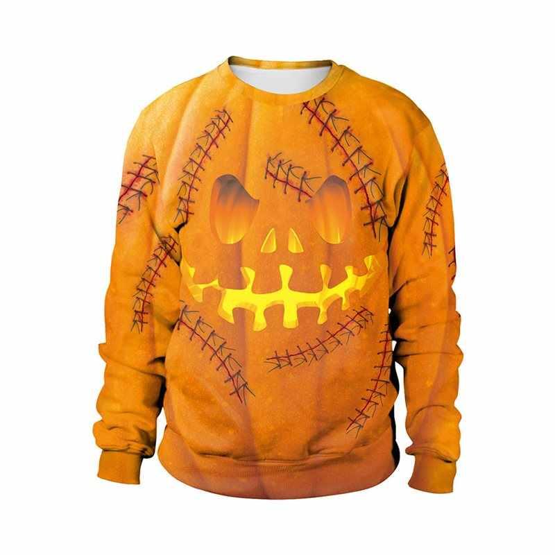Décontracté grande taille Orange Halloween gothique sweat à capuche pour femme Hip Hop en vrac impression 3D dessin animé automne 2019 femme Goth jaune sweats