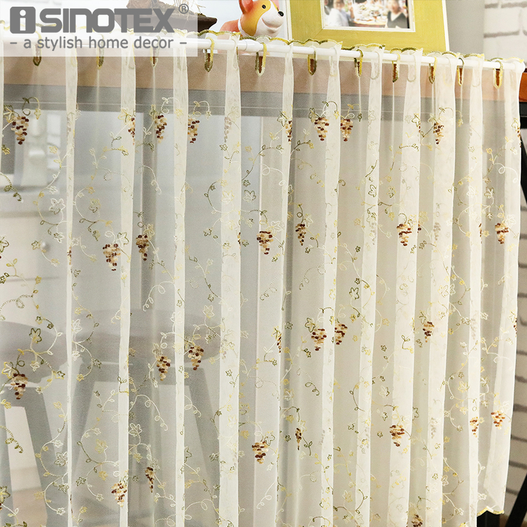 Cafe Curtain Half Curtain Grapes Window Voile Valance