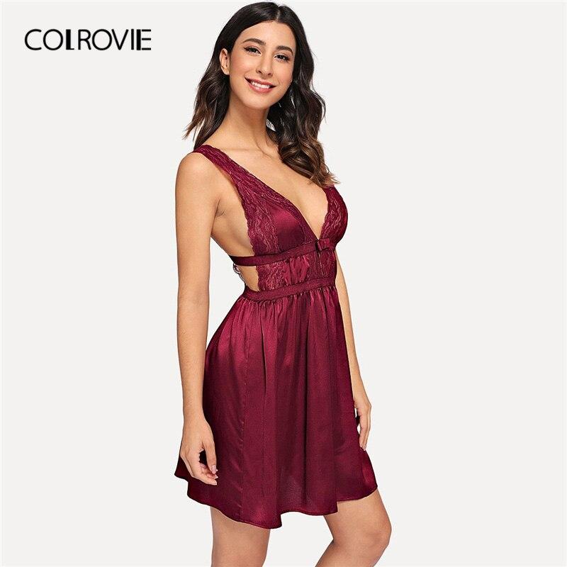 COLROVIE Burgundy Deep V Neck Contrast Lace Open Back Satin Night Dress Women 2019 Sleeveless Sleepwear Lounge Ladies Nightgown