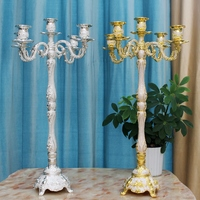 Candlestick golden silver five headed household wedding luxury candlelight dinner crystal Alloy metal candle holder stand