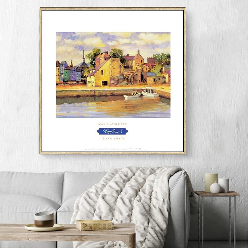 Shinehome 4pcs Wall Art Canvas Painting Printing Spa Yoga: Modern Retro Hut Landscape A4 Poster Print Canvas Home