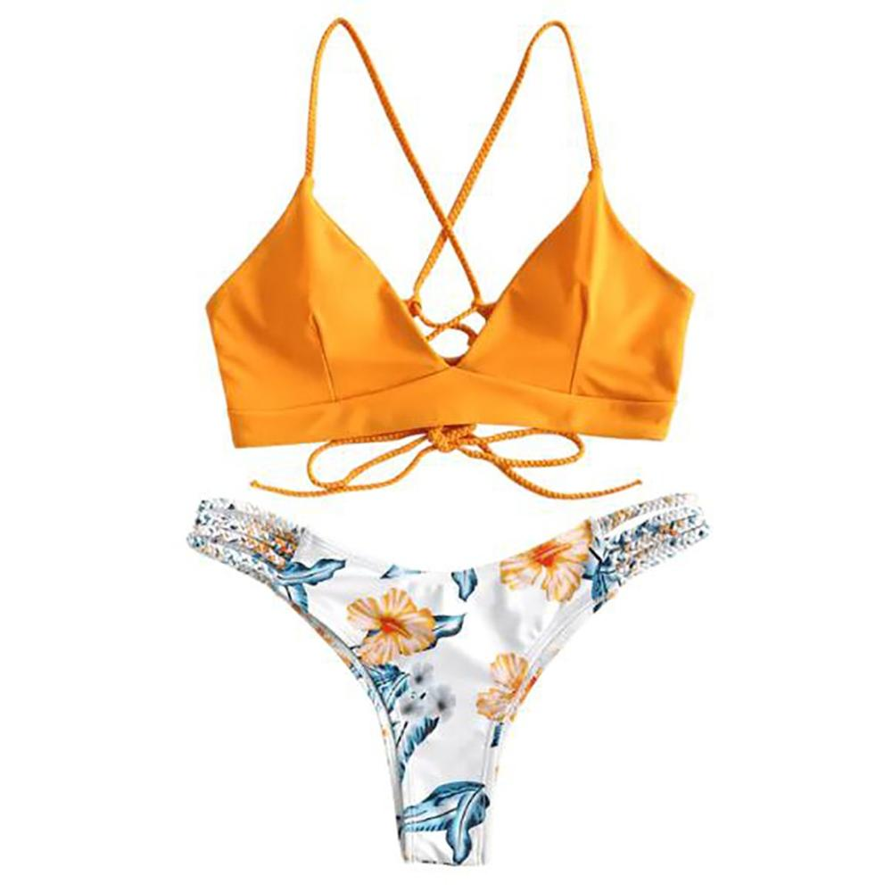 <font><b>Sexy</b></font> Swimsuit Split Bathing Suit Beachwear <font><b>Bikini</b></font> Set Push Up Maillot De Bain Femme Floral Bandeau Bandage Women <font><b>Summer</b></font> <font><b>2019</b></font> C image