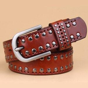 Image 3 - עור אמיתי מסמרת חגורות מעצב באיכות גבוהה נשים חגורות מותג חגורת המותניים נשים מקרית פין אבזם חגורות נשי רצועה