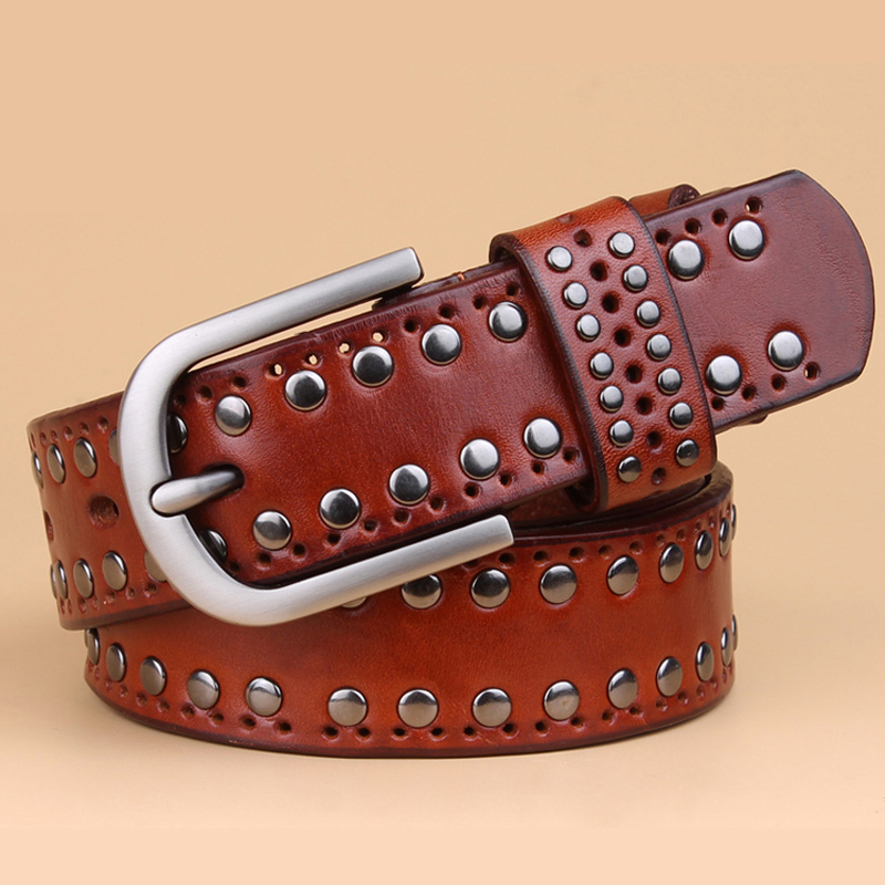 Image 3 - genuine leather rivet belts high quality designer women belts brand waist belt for women casual pin buckle female belts Strap-in Men's Belts from Apparel Accessories