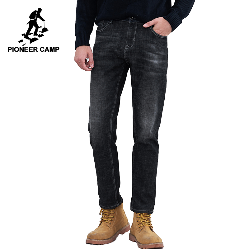 Пионерский лагерь новые зимние теплые джинсы брендовая мужская одежда повседневные однотонные флисовые джинсы мужские качества хлопка бр...