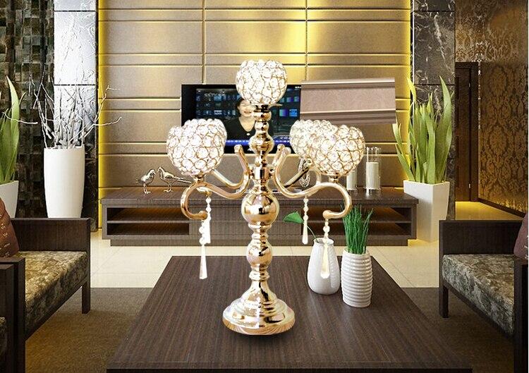 5 Arms Metall Gold Silber Uberzogener Kristall Kerzenleuchter