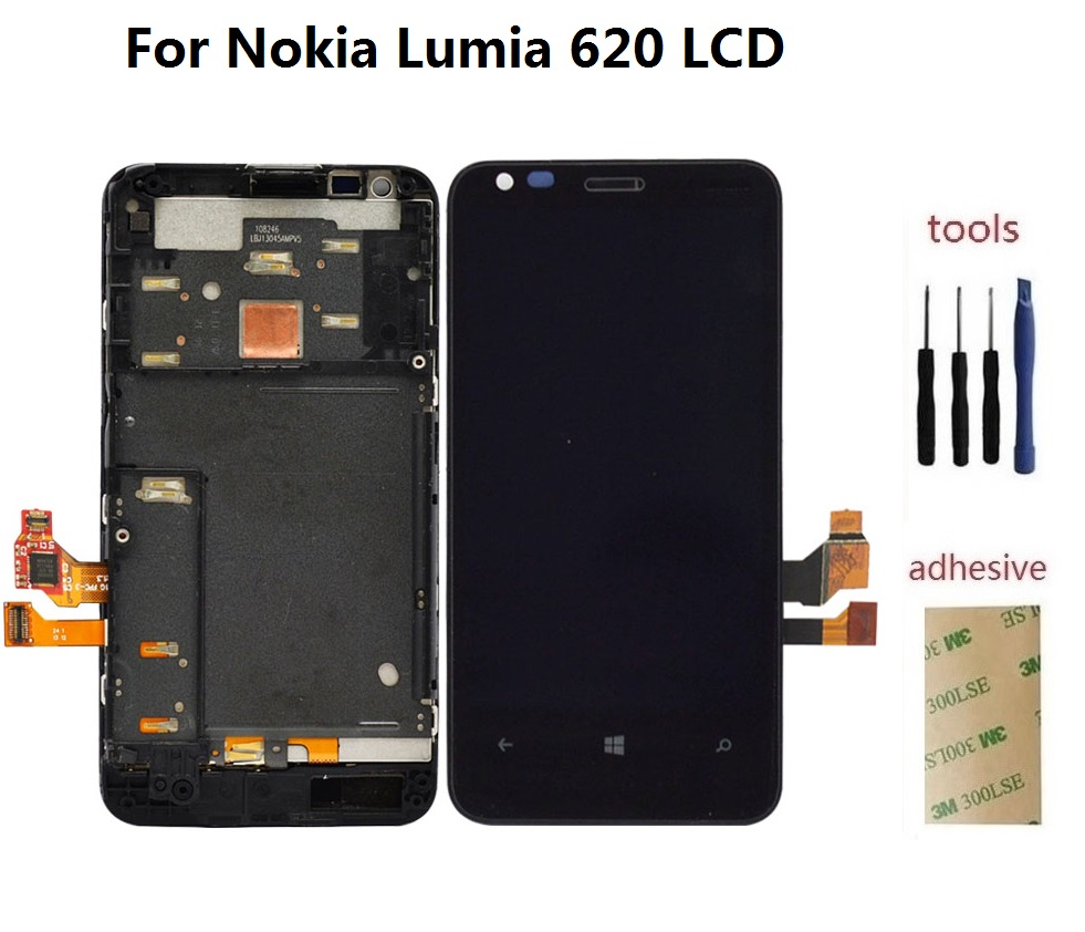ФОТО For Nokia Lumia 620 LCD Display Screen + Front Touch Glass Digitizer Sensor + Frame Assembly + Adhesive + Kits + free Shipping