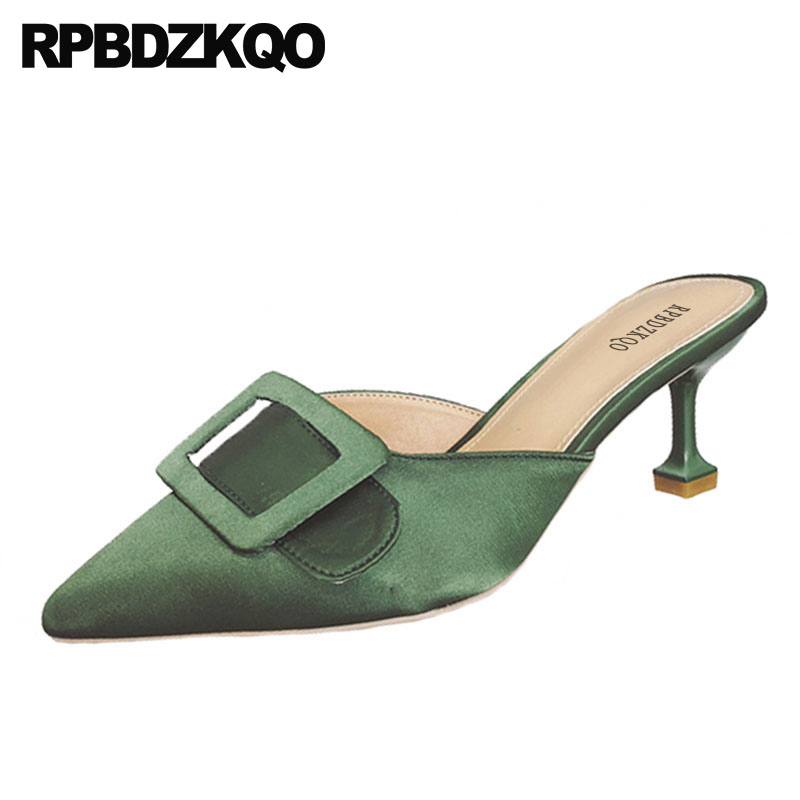 Sandals Medium Heels Satin Pointed Toe 2018 Green Thin Strange Party Shoes  For Women High Size d10621eed503