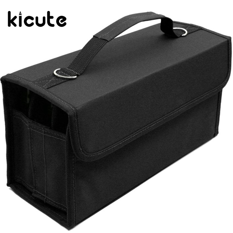 Kicute 80 Slots Multi Layer School Marker Case Markers Pen Case Holder Pencil Case Storage Bag Painting Gift for Students large capacity pencil case canvas 120 slots 4 layers school pencil bag art marker pen holder coloring pencils organizer