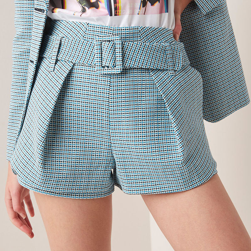 2019 New Women Blue High Waist Plaid Short Pants