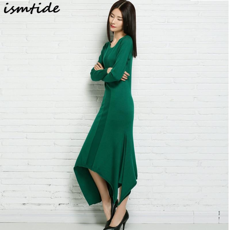 Good Quality 2017 Autumn Thick Cashmere Dress Women Casual Fashion Winter Maxi Long Elegant Solid Plus Size Sweater Dresses