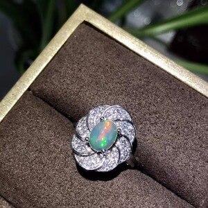 Image 3 - Tự nhiên opal phụ nữ nhẫn thay đổi màu lửa bí ẩn 925 bạc có thể điều chỉnh kích thước