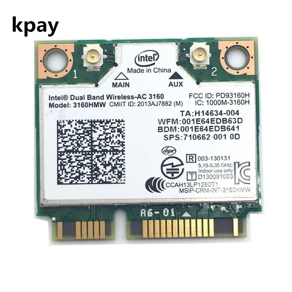 Dual Band Wireless AC For Intel 3160 3160HMW 802.11ac Wifi  + Bluetooth 4.0 Mini PCI E Card 2.4G And 5Ghz 802.11a/B/G/N/AC