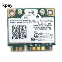 Double bande sans fil AC pour Intel 3160 3160HMW 802.11ac Wifi + Bluetooth 4.0 Mini carte PCI e 2.4G et 5 Ghz 802.11a/b/g/n/AC