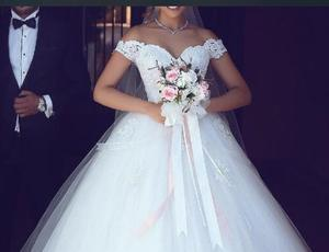Image 2 - JIERUIZE White Lace Appliques Ball Gown Cheap Wedding Dresses 2020 Off The Shoulder Short Sleeves Bridal Dresses Wedding Gowns