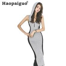 Plus Size Casual Sheath Summer Dress 2019 Sleeveless Corset Bodycon Bandage with Hoodies zipper Midi Women Robe