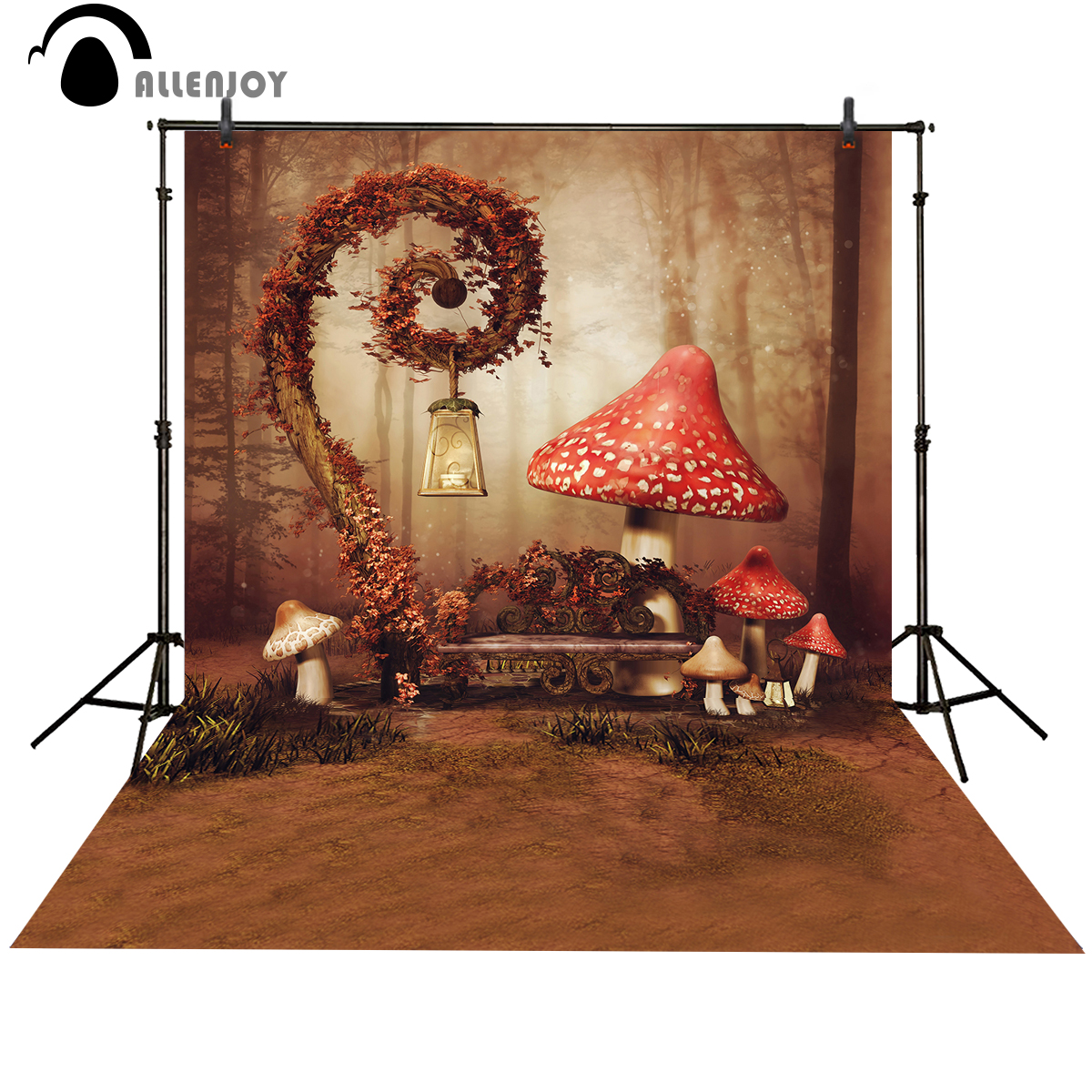 Allenjoy photo background Red Mushroom Fairy Wonderland Cute baby photo booth Background for photo studio photography background allenjoy easter basket butterfly photography backdrops spring photography background photo studio background