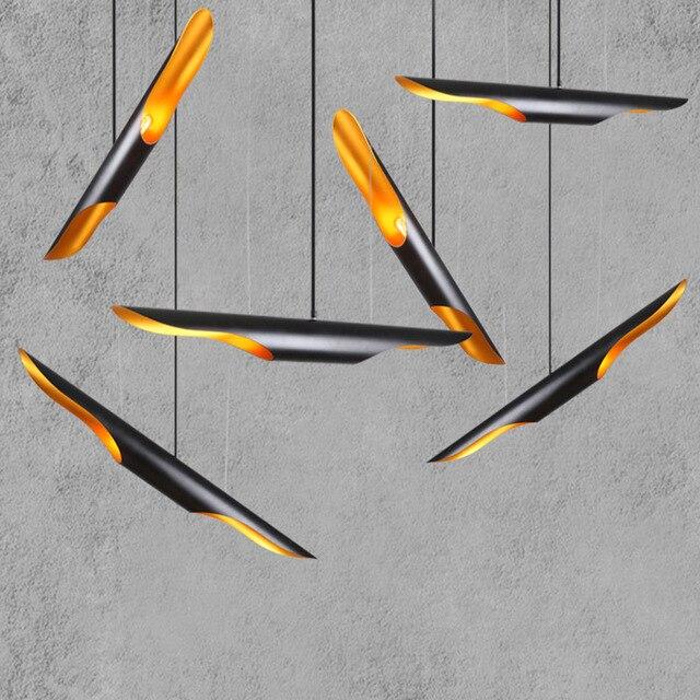 Nordic Eenvoudige Stijlvolle Restaurant Bamboe Pedant Lamp Persoonlijkheid Creatieve Koffie Bar Aluminium Buis Vliegtuigen Hanglamp E27
