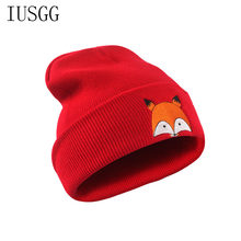d5df24ccc0a Cute Unisex Winter Warm Beanie Hat Cap Crochet Knit Hat Fox Embroidery  Casual Cartoon Pattern Hats