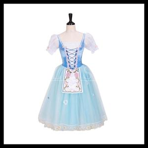 Stage-Dance-Costumes for La-Fille Mal Gardee Romantic Tutu Soft-Skirt Long-Dress Classical-Ballet