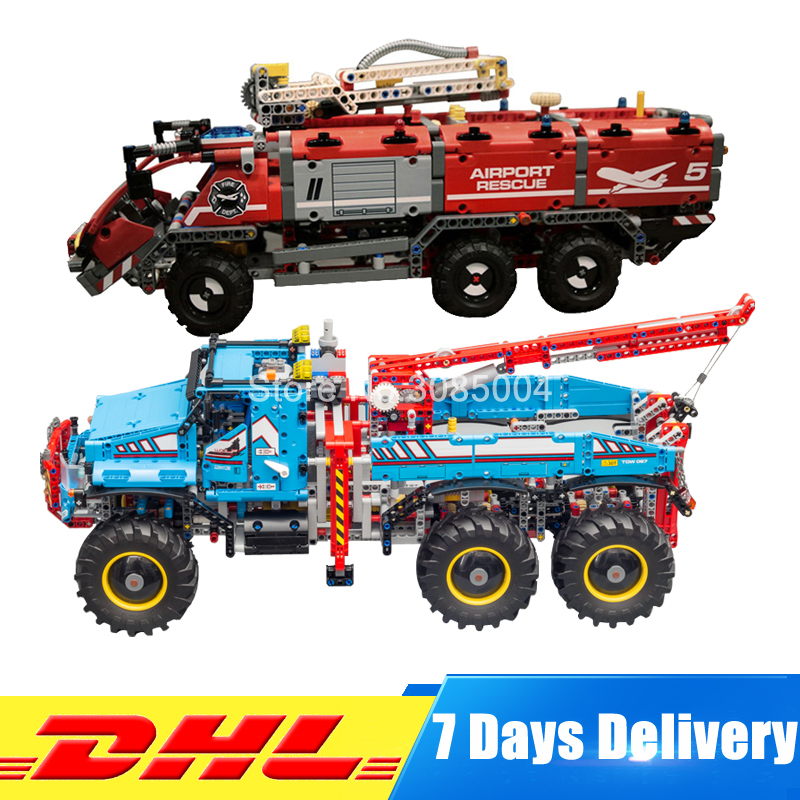 DHL Lepin Technic Series Set 20055 City Rescue Vehicle+20056 Children Educational Building Blocks Bricks Toy Clone 42070 42068 dhl lepin 02020 965pcs city series the new police station set model building set blocks bricks children toy gift clone 60141