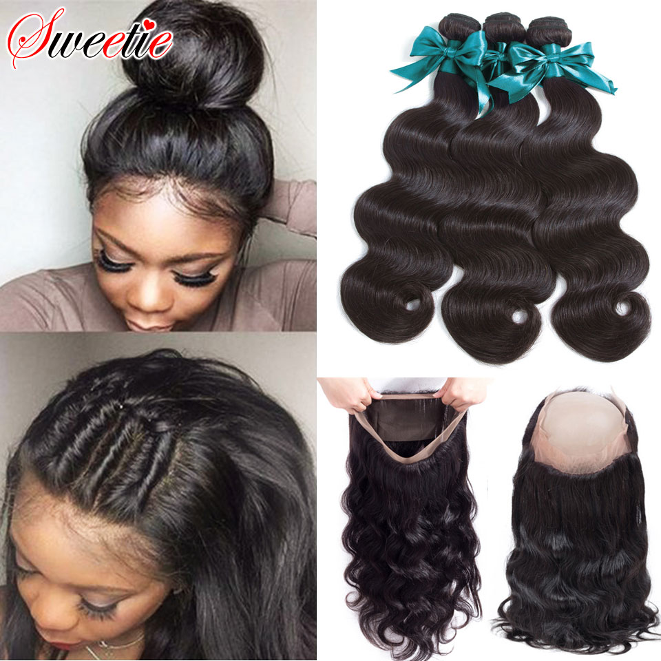 Sweetie 360 Lace Frontal Closure With Bundles Brazilian Human Hair Body Wave Lace Closure With Baby Hair 4pcs/lot Non-Remy Hair