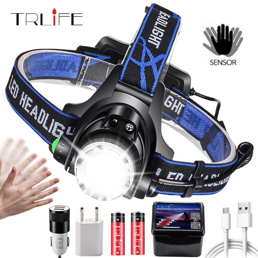 18000LM LED Headlamp T6 L2 V6 Zoomable Head lamp Flashlight Torch Headlight Lanterna With LED Body Motion Sensor for Camping in Headlamps from Lights Lighting