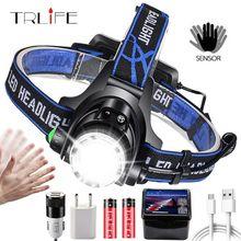 Linterna frontal LED superbrillante T6/L2/V6, linterna de cabeza con zoom, linterna, linterna con LED con detección de movimiento para campamento