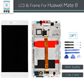 """Para huawei mate 8 mate8 display lcd assembléia tela de toque digitador sensor de vidro com moldura preta ouro branco 6 """"pantalla + Ferramentas"""