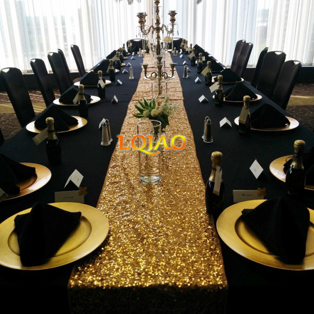 Top Wholesale Luxury Gold Silver Champagne Sequin Table Runner Wedding  NU15