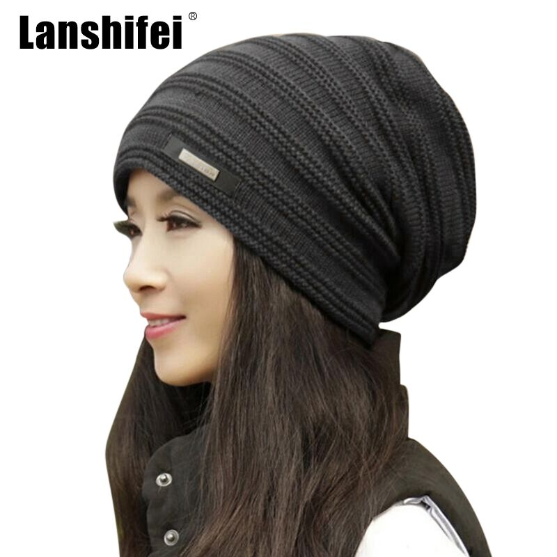 LANSHIFEI Women Winter Skullies Hat Men Knitted Wool Beanies Fashion Casual Outdoor Ski Caps Thick Warm Hats Baggy Cap Unisex rabbit fur hat fashion thick knitted winter hats for women outdoor casual warm cap men wool skullies beanies