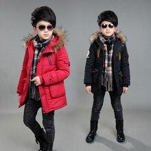 boys winter jacket 5-15 years old kids down coats Hooded fur collar thick warm big pocket labeling stars chidlren's parka цены онлайн