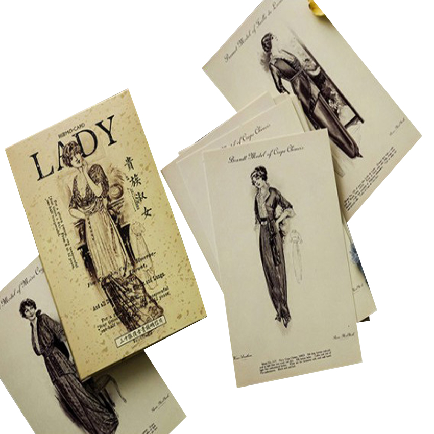 30pcs/pack Original Postcard Aristocratic Lady Boxed Message Postcard Can Be Used To Write Letters