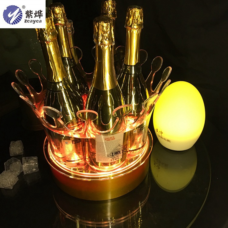 LED Ice Bucket Chargeable Color Changing Wine Cooler Crown Champagne Wine Holder Drinks Beer Wine Rack Bar/Wedding/Home Party