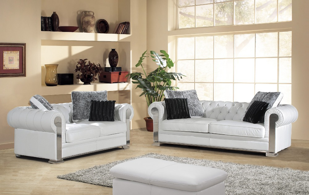 2015 New Arrival Genuine Leather Chesterfield Sofa European Style Modern Set  Living Room Sofas Sofa Set