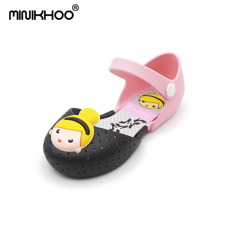 Mini Melissa 2018 New Summer Princess Barbie Girls Jelly Sandals Jelly Shoe Girl Non-slip Melissa Kids Sandal Beach Sandals