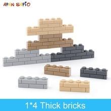 50Pcs DIY Building BlocksหนาFiguresอิฐ1X4จุดสร้างสรรค์การศึกษาขนาดใช้ร่วมกับแบรนด์ของเล่นสำหรับเด็ก