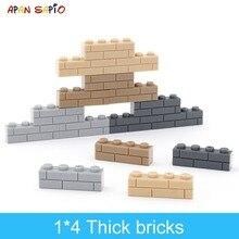 Bloques de construcción DIY de pared gruesa para niños, 50 Uds., figuras de bloques de 1x4 puntos, tamaño creativo educativo Compatible con marcas, juguetes para niños